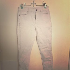 White ankle length jeans